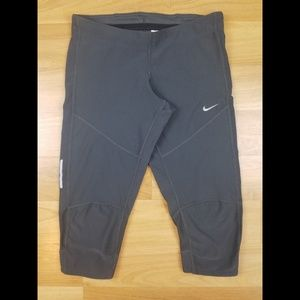 Nike Dri Fit Black Cropped Mesh Leggings XS Pocket